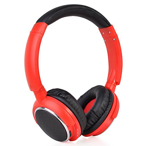 Contixo KB-300 Kid Safe 85DB Over The Ear Wireless Bluetooth LED Headphone with Volume Limiter, Built-in Microphone, Micro SD, FM Stereo Radio, Red & Black