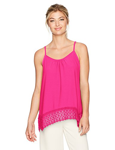 kensie Women's Slinky Knit Spaghetti Strap Top with Lace Hem, Party Pink, M