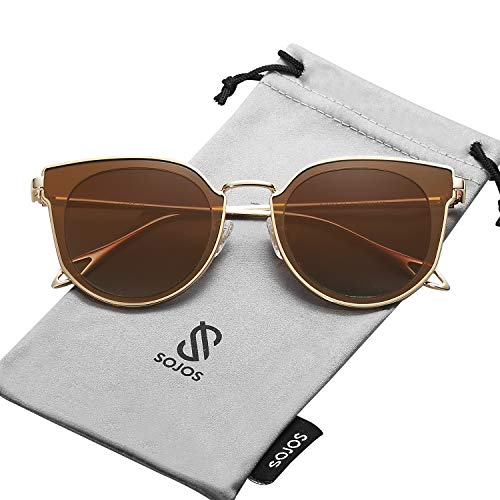 SOJOS Fashion Polarized Sunglasses for Women UV400 Mirrored Lens SJ1057 (C04 Gold Frame/Gradient Brown Polarized Lens, 60)