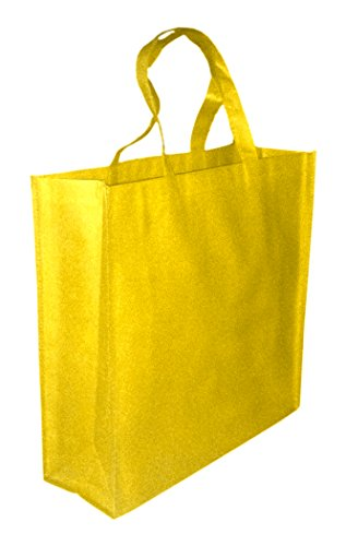 Price comparison product image 5 Pack YELLOW Promo Tote Bags Reusable Grocery and Travel Totes or Party Favor Gift Bags (Yellow)