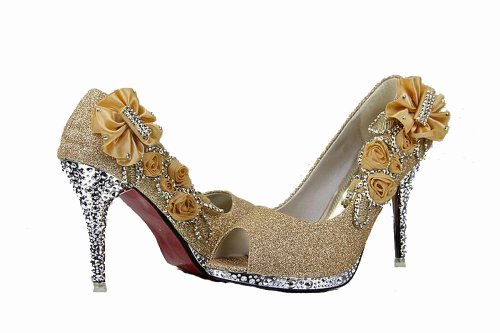 with Women's Floriation Pumps Shiny Flowers WeenFashion Gold Rosefloweropentoe qtFTq