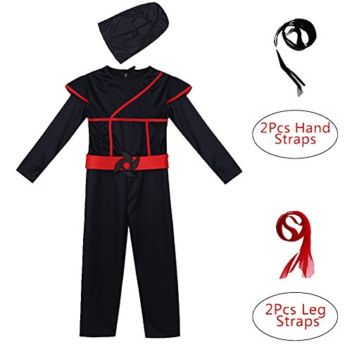 Freebily Boys Black Ninja Martial Arts Warrior Outfits Halloween Cosplay Costume Dress up Black 8-10