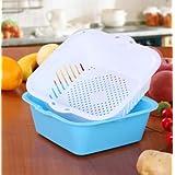 Lautechco Double Plastic Square Drain Basket Fruit Basket Vegetables Basket Vegetables Basin Storage Basket (L, Blue)