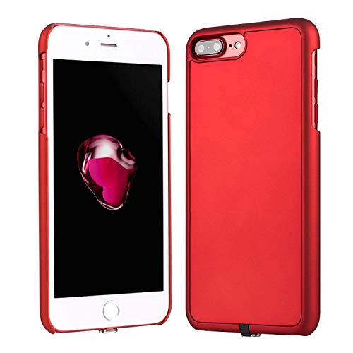 Antye Qi Wireless Charger Charging Receiver Case for iPhone 7 Plus, Matte Coated Finish & Ultra Slim Phone Back Cover Case with Flexible Connector - Red