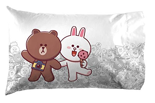 Jay Franco Brown & Friends Fun with Friends 1 Pack Pillowcase - Featuring Brown & Cony - Reversible Kids Super Soft Bedding (Official Line Friends Product)