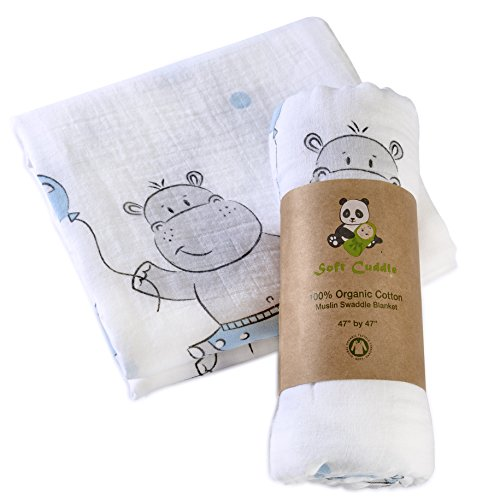 Organic Cotton Muslin Swaddle Blanket Double Layer Extra Large (Blue Hippo) by Soft Cuddle - Baby Hippo