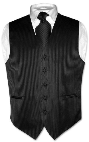Vesuvio Napoli Men's Dress Vest & NeckTie BLACK Vertical Striped Design Neck Tie Set size -