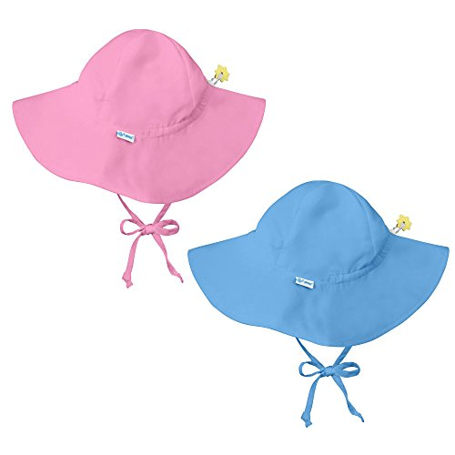 I Play Solid Sun Hat - i play. 2 Pack UPF 50+ Sun Protection Brim Toddler Sun Hats-2T-4T-Blue-Pink
