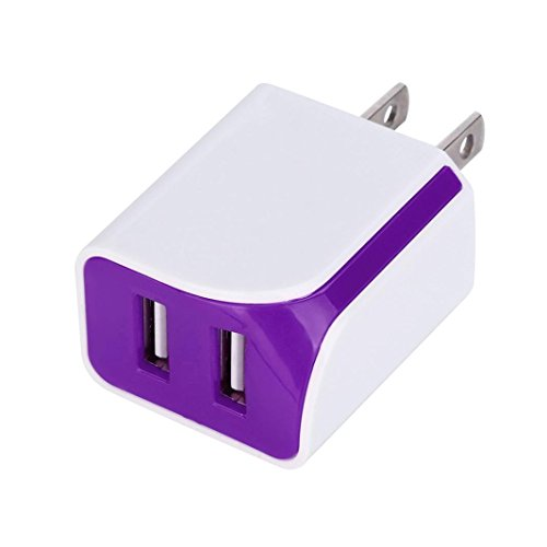 DRACLE Wall Charger, 5V 2A Dual Ports USB US Wall AC Adptive Fast charger Adapter (Purple)