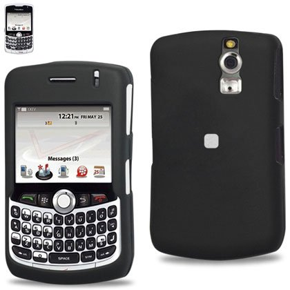Reiko New Fashionable Perfect Fit Hard Protector Skin Cover with Belt Clip for Blackberry Curve 8330 Metropcs - Retail Packaging - Black