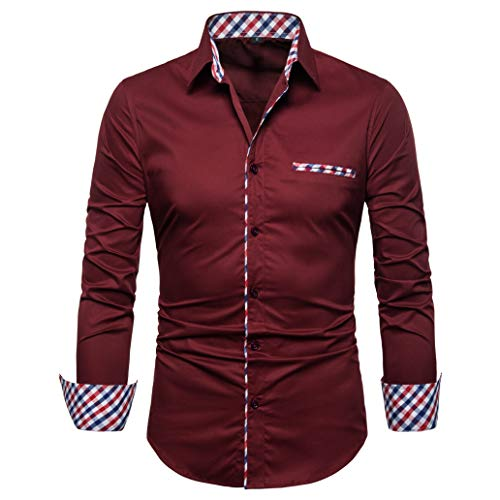 SIR7 Men's Cotton Button Down Casual Long Sleeve Shirts Inner Contrast Plaid Dress Slim Fit Shirt Wine Red (Sleeve Long Casual Plaid)