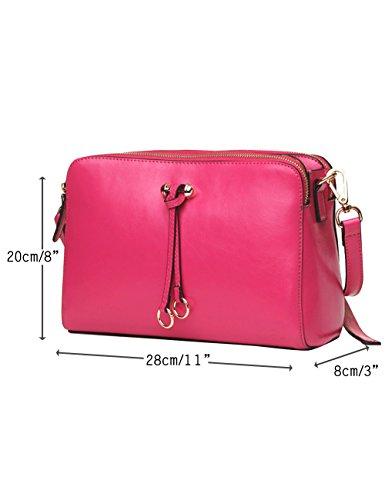 CUKKE Damen Echtes Leder Umhängetasche Handtasche Blau Rose 65szYKivJ