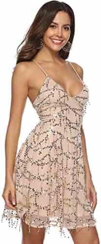6670aa7759b Women s V Neck Mini Sequin Beaded Halter Bodycon Nightclub Party Dress