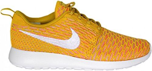 Nike Womens Roshe One Flyknit Scarpe Da Corsa Oro Bianco Laser Arancione Tramonto Bagliore