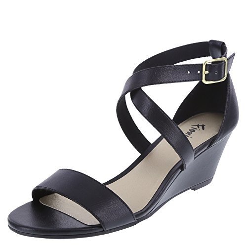 Black Women Wedge - Fioni Women's Black Women's Princess Mid-Wedge Sandal 9.5 Regular