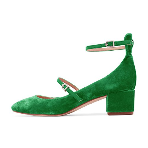 XYD Womens Retro Marry Jane Block Heel Pumps Velvet Ankle Strap Round Toe Dress Shoes Size 8.5 Lime Green