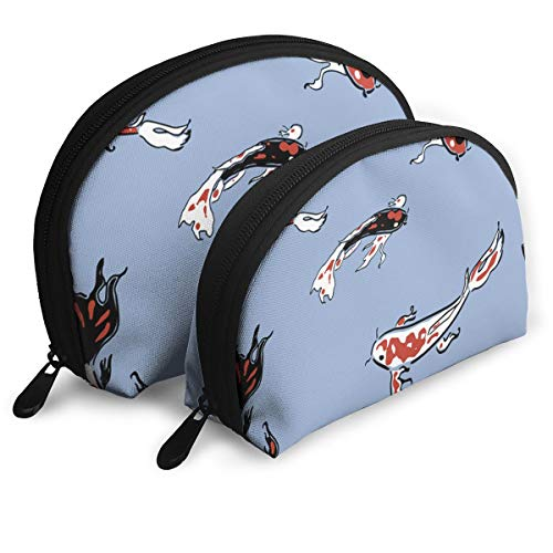Taslilye Oil Painting Goldfish Personalized Cosmetic Bag Shell Shape Large One for Ladies Cosmetics Storage -