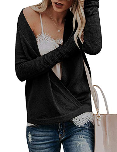 Paris Hill Womens Knitted Deep V-Neck Long Sleeve Wrap Front Loose Sweater Pullover Jumper Tops Black Small by Paris Hill (Image #4)