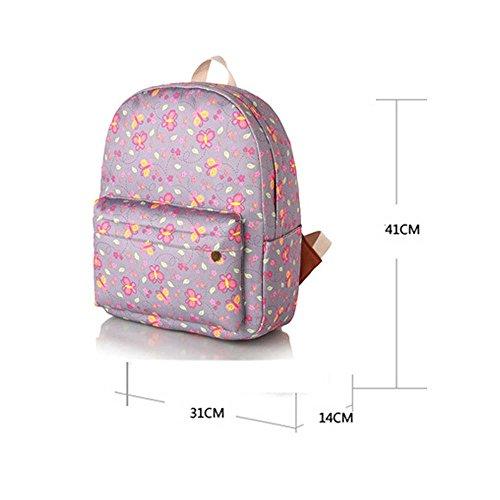 OUFLY Imprimir Mochila Floral Impreso Lienzo Mochila Hombro Satchel Schoolbag Daypack Mariposa amarilla y rosada