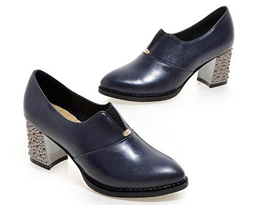 red con 39 XIE col tacco spesso Scarpette metallo poco della delle bocca profonda 39 scarpe donne BLUE Oq1wB