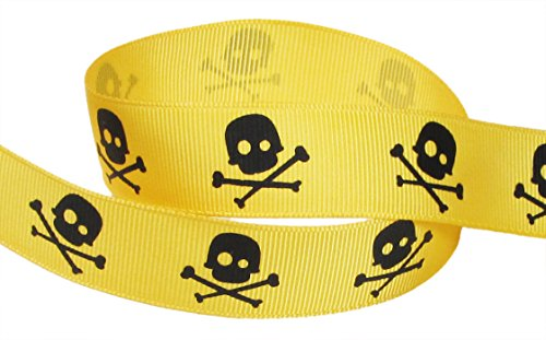HipGirl Halloween Grosgrain or Satin Fabric Ribbon for Holiday Pirate Party Decoration, Hair Bow Accessory, Scrapbook, Match Your Costumes-- 5 Yard 7/8 Inch Skull Cross Bone, Yellow (Halloween Embellishments For Hair Bows)