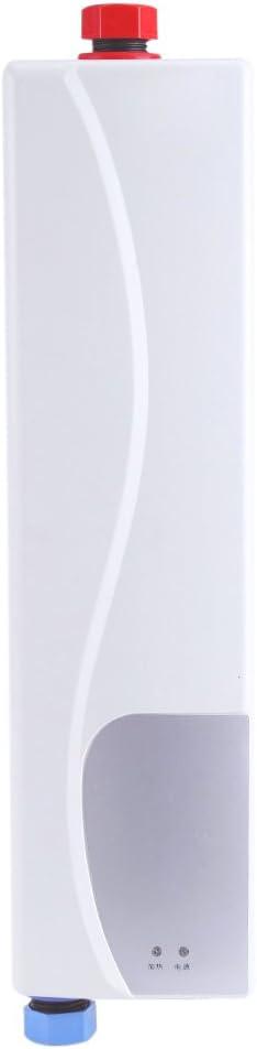 220V 3000W Mini Calentador Agua Caliente Instantáneo Sin Tanque Eléctrico Uso Cocina Baño Enchufe UE (Blanco)