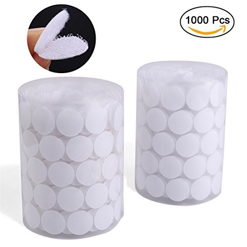 RuiyiF 1000pcs(500 Pair Sets) Sticky Back Coins 20mm Diameter Clear Dots Stickers Self-Adhesive Hook and Loop Interlocking Tapes - White