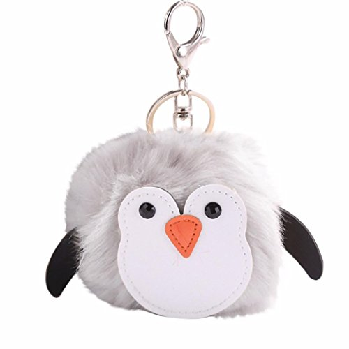 SUPPION 10CM Cute Penguins Keychain Pendant Women Key Ring Holder Pompoms Key Chains (Grey)