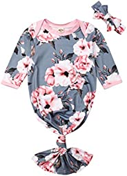 Newborn Baby Sleepwear Floral Gown Long Sleeve Sleepwear Knotted Romper Nightgown Sleeping Bags Outfit