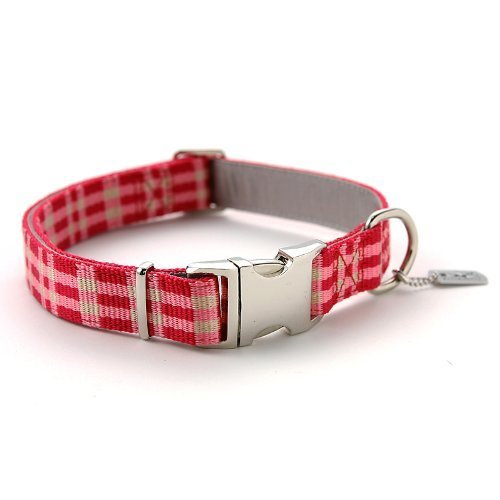 RLC Dog Collar with Metal Buckle, 1-Inch, Large, Checked Pink