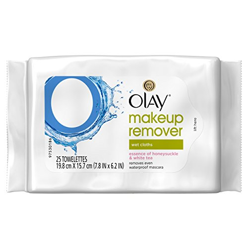 Olay Makeup Remover Wet Cloths, Honeysuckle and White Tea, 25 Count
