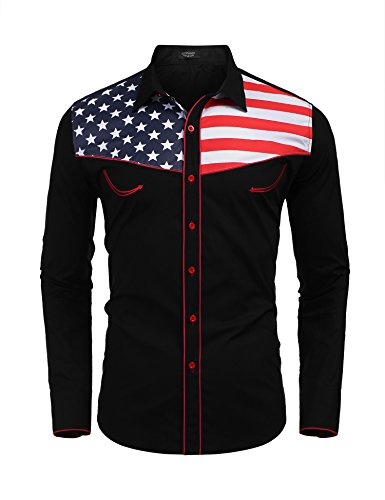 COOFANDY Men's American Flag Shirts Casual Long Sleeve Western Button Down Shirt, Black, X-Large