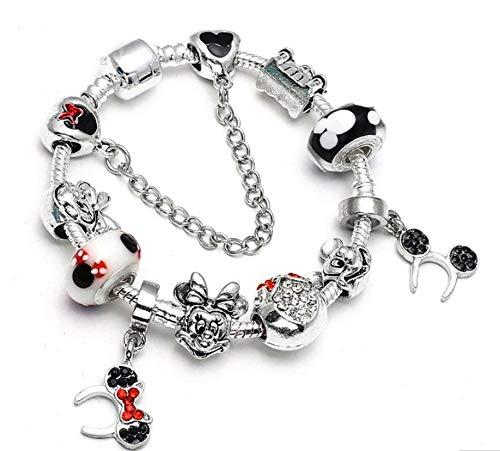 AURELLA Mickey Minnie Charm Bracelet with Nice Marano Beads Fit Original Bracelet for Kids ift (A 4 + 21cm)