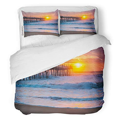 Tarolo Bedding Duvet Cover Set Orange Surf Serene Sunrise Over Fishing Pier at North Carolina Outer Banks Pink Atlantic 3 Piece Twin 68