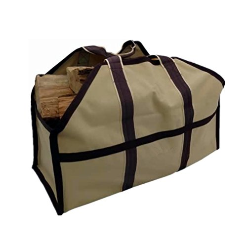 UNISTRENGH Firewood Log Carrier Heavy Duty Durable Tote Bag for Wood - Self Standing Design with Padded Handles - Large Capacity for Fireplace, Beach, Groceries (Khaki)