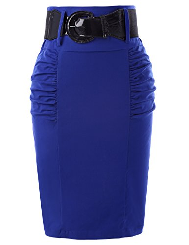 (Strechy Skirts with Belts Women Knee Length Office Blue Skirts L)