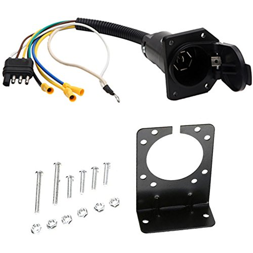 NEW SUN 4 Flat to 7 Way Blade Trailer Adapter Electrical Connector with Mounting Bracket -