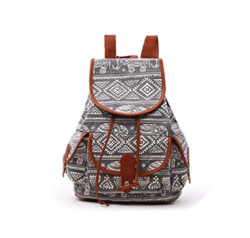Rainie002 2019 Women'S Vintage Canvas Backpack National Ethnic Backpacks Girl Rucksack School Bag Bookbag Shoulder Travel Bag,F,38X17X39 Cm (Best Golf Swing Training Aids 2019)
