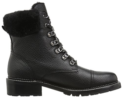 Frye Bota De Combate Samantha Hiker Para Mujer Black Pebbled Waxed Leather / Shearling