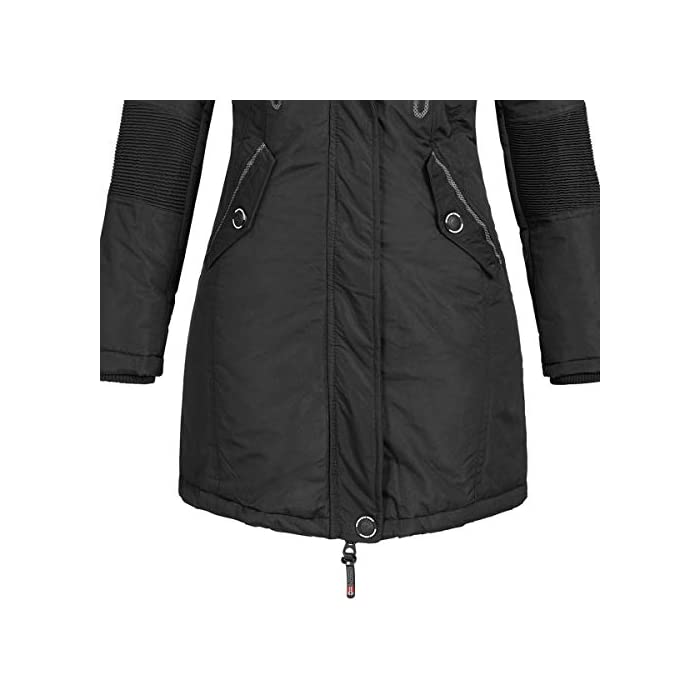 41cmJUV6c4L Abrigo para mujer con diseño atractivo y características funcionales. Corte: estándar, con corte entallado. Material exterior: 100% poliéster, forro/relleno: 100% poliéster, pelo sintético: 80% poliacrílico, 20% poliéster.