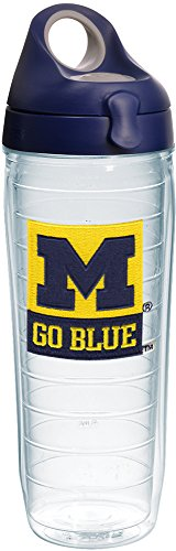 Tervis 1240834 Michigan Wolverines Go Blue Insulated Tumbler with Emblem and Navy with Gray Lid, 24oz Water Bottle, - Wolverines Bottle Michigan