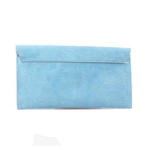 Accessoryo - Damen dunklen blauen Wildleder Umschlag Clutch Bag