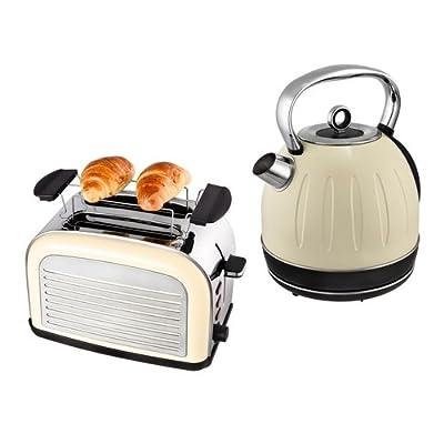 Set petit déjeuner Kalorik JK 2500+ to 2500Bouilloire 1,7L et 2disques Grille-Pain Rétro Crème/blanc, acier inoxydable
