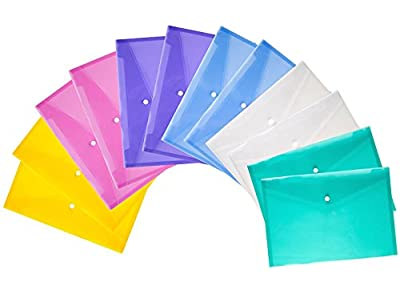 Bekith Clear Document Folder with snap Button,Premium Quality Poly Envelope, US Letter / A4 Size, Set of 24 in 6 Assorted Colors, Blue, Green, Orange, White, Purple, Pink