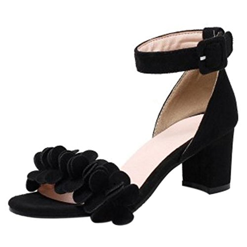 TAOFFEN Women Fashion Ankle Strap Sandals Block Heel Black J2iJALbNd