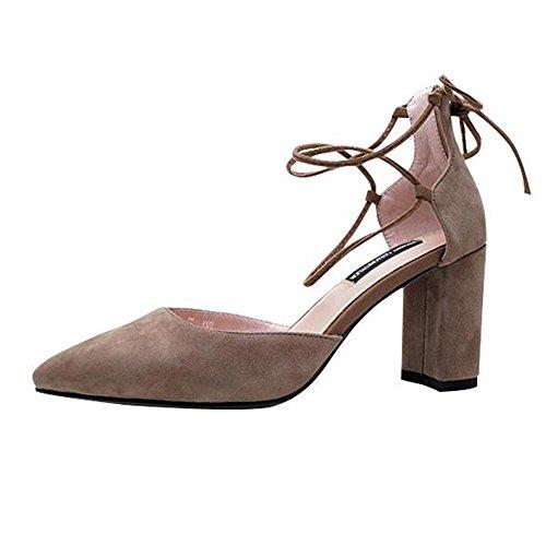 Verano Zapatos Moda Ue36 Abierta Punta Albaricoque Temporada Individuales Eu35 Mujer uk4 De sandalias color Qidi uk3 xtSFAzq