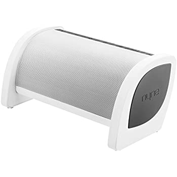 NYNE Bass Portable Bluetooth Speaker with Built-in Active Subwoofer, USB Charging and Hands free Microphone (White / Grey)
