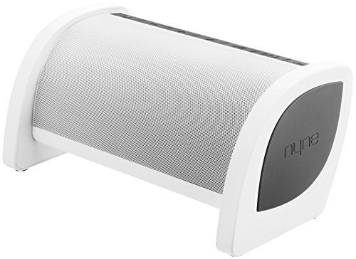 NYNE Bass Portable Bluetooth Speaker with Built-in Active Subwoofer, USB Charging and Hands Free Microphone (White/Grey)