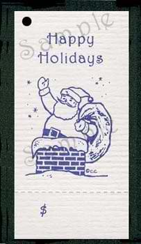 100 Hang Tags VINTAGE SANTA (design) & 100 Cut Strings for Crafts & Gifts. Personalize & Price your merchandise.