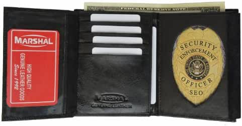 Badge Holder Wallet Genuine Leather Black Police Fire Sheriff Security ID Shield